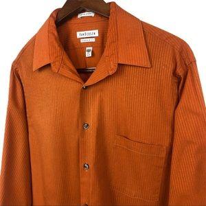 """Van Heusen Satin Stripe Orange Dress Shirt 16.5"""""""